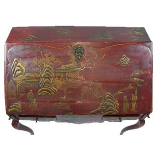 Louis XV Period Gilt-Bronze Mounted Red-Lacquered Drop Front Bureau, Ca. 1750 Preview