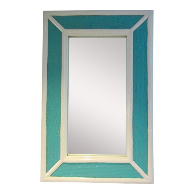 Vintage C.1960's Palm Beach Style Bamboo & Wicker 2-Tone High Gloss Lacquered Mirror For Sale