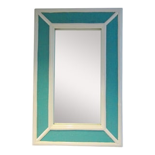 Vintage Palm Beach Style Bamboo & Wicker 2-Tone High Gloss Lacquered Mirror For Sale