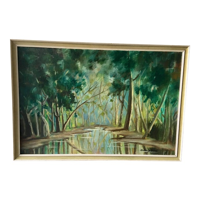 1940s Forest Painting on Board Framed - Image 1 of 6