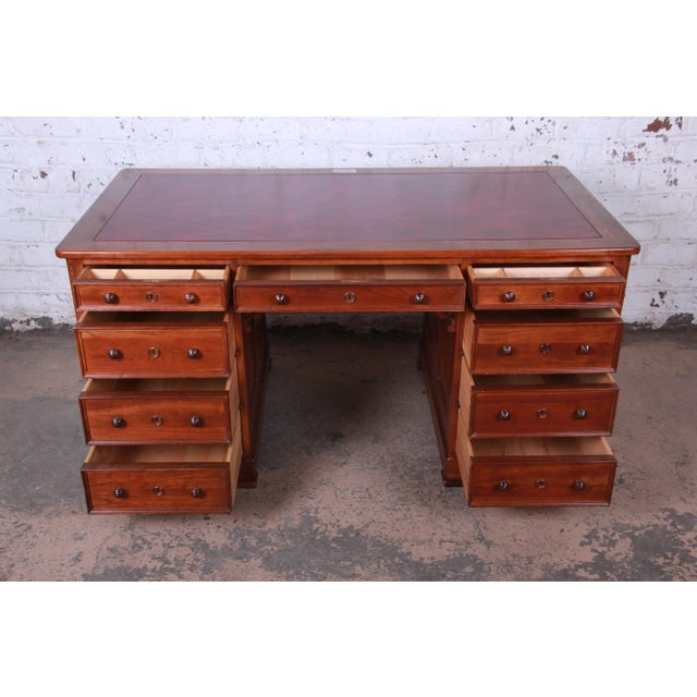 Harden Sleepy Hollow Collection Leather Top Partner Desk For Sale In South Bend - Image 6 of 12