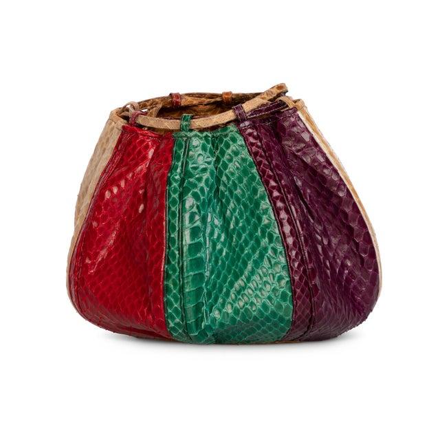 Modern 1980s Judith Leiber Multicolored Snakeskin Beach Ball Shoulder Bag For Sale - Image 3 of 8
