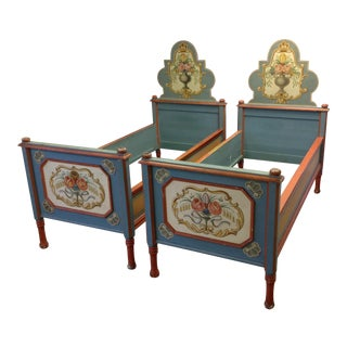 Antique European Handpainted Bedframes - A Pair For Sale