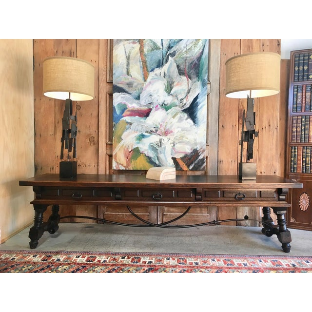 20th Century Spanish Style Console Table Buffet For Sale - Image 12 of 13