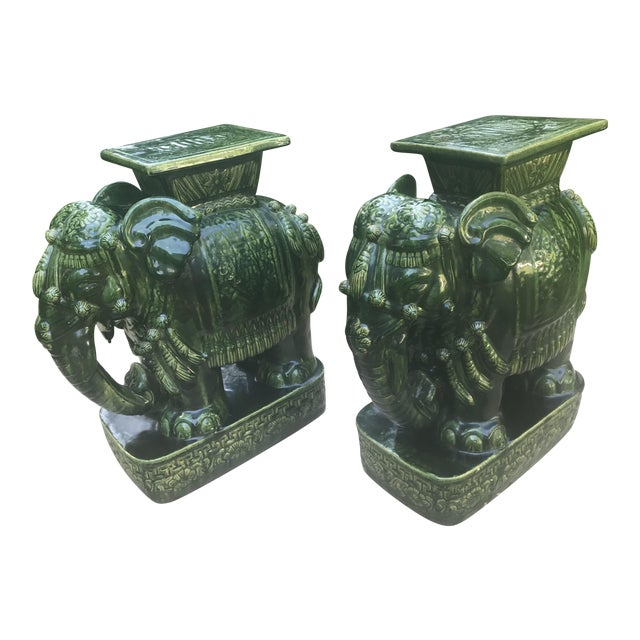 Admirable Vintage Green Glazed Elephant Garden Stools Seats A Pair Unemploymentrelief Wooden Chair Designs For Living Room Unemploymentrelieforg