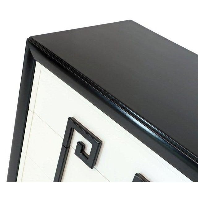 Black Kittinger Mandarin Style Chest Dresser Black and White Lacquer Five Drawers For Sale - Image 8 of 11