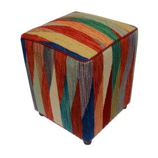 Arshs Dollie Rust/Blue Kilim Upholstered Handmade Ottoman For Sale