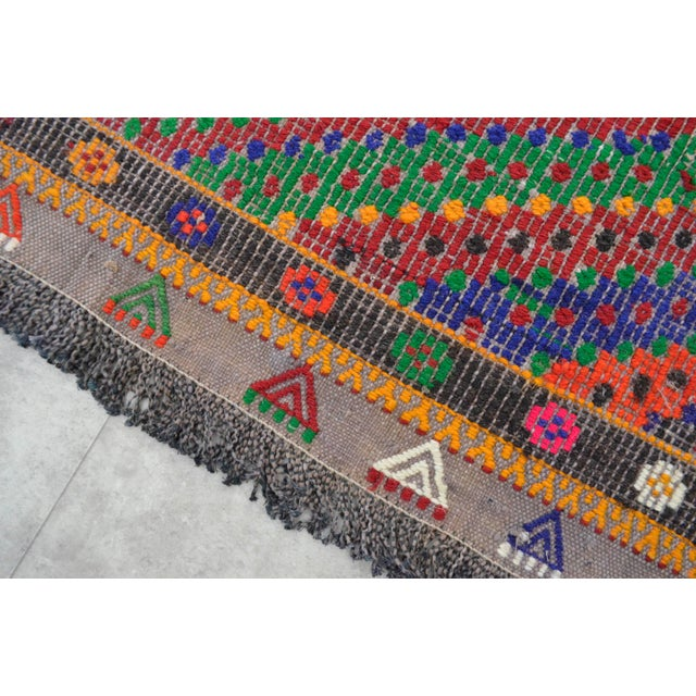 "Hand Woven Turkish Kilim Area Rug - 6'9"" X 9'6"" - Image 8 of 9"