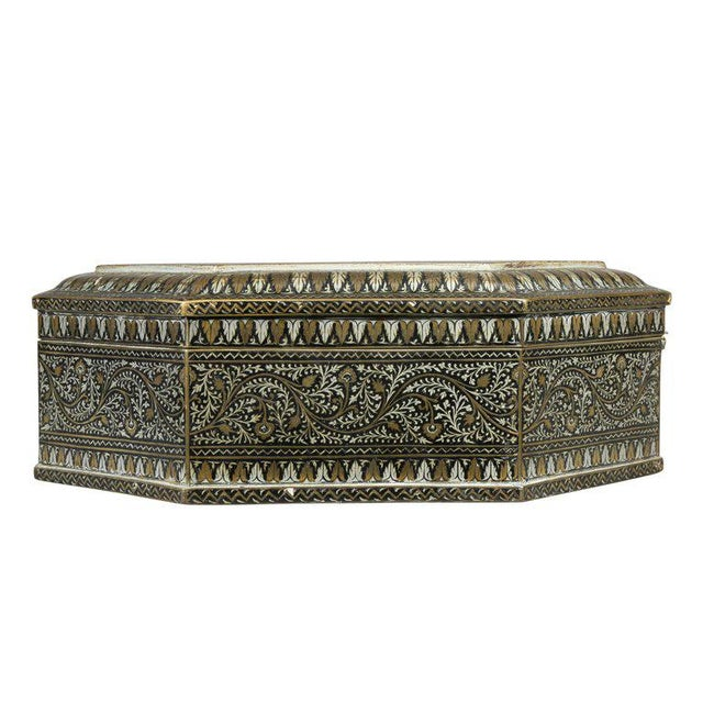 Metal Indian Steel Koftgari Box For Sale - Image 7 of 10