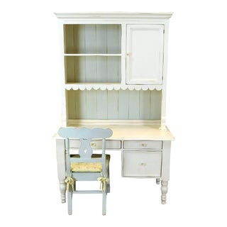Bradshaw Kirchofer White Hand Crafted Sweat Pea Desk w/ Scalloped Hutch & Chair For Sale