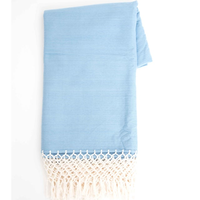 Sky Blue Cotton Tablecloth - Image 2 of 6