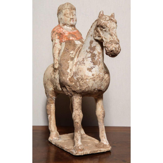 15th Century & Earlier 8th Century Tang Dynasty Chinese Terracotta Horse and Rider with Original Paint For Sale - Image 5 of 10