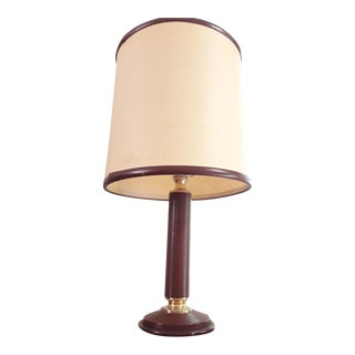 """Jacques Adnet Mid-Century Leather and Brass Desk Lamp for """"Le Tanneur"""" For Sale"""