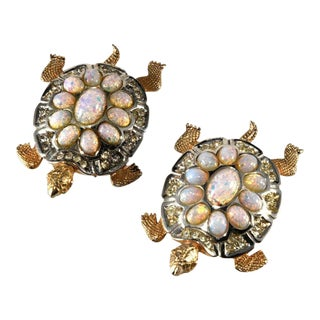 Boucher Turtles Pair Brooches Pins Clips Faux Opals and Rhinestones For Sale