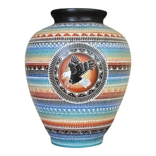 "Navajo Style Betty Sum Dim Hand Etched Flying Eagle Pottery Vase - 17"" For Sale"