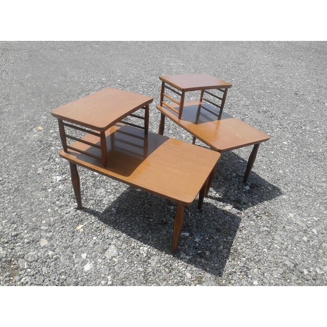 Brown 1960's Danish Modern Baumritter Corner End Side Tables- a Pair For Sale - Image 8 of 11