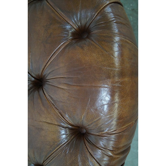 Quality Brown Tufted Leather Chesterfield Ottoman - Image 10 of 10