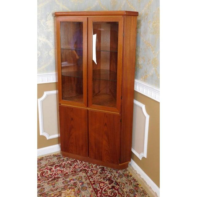 Danish Modern 1970s Teak Rasmus Co Corner Cabinet Cupboard For Sale