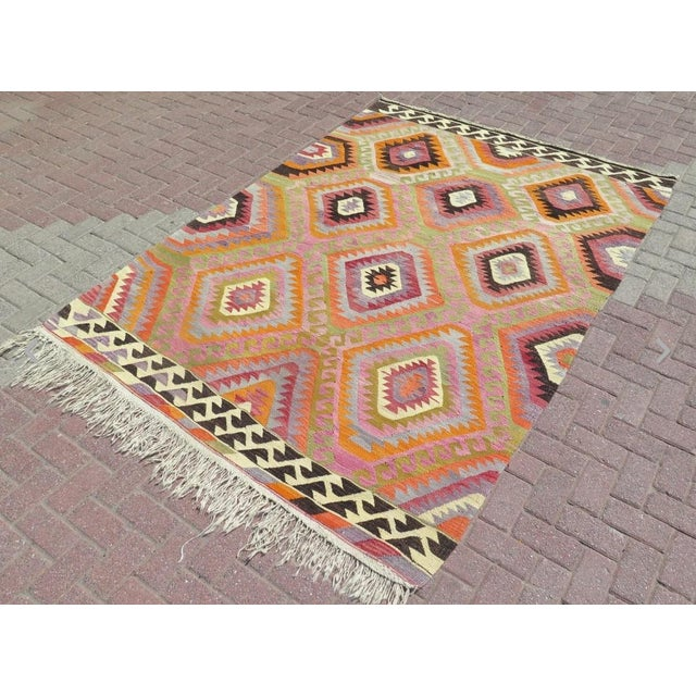 Vintage Turkish Kilim Rug- 5′9″ × 8′5″ - Image 2 of 6