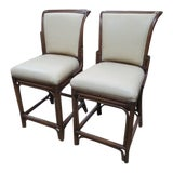 Image of 1990s Vintage Leather and Rattan Bar Stools- A Pair For Sale