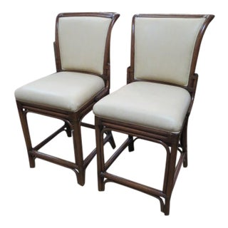 1990s Vintage Leather and Rattan Bar Stools- A Pair For Sale