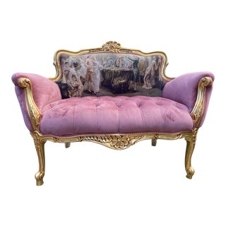 French Louis XVI Style Settee in Velvet and Gobelin For Sale