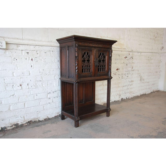 Belgian Antique Belgian Dark Oak Gothic Bar Cabinet, Circa 1850s For Sale - Image 3 of 11