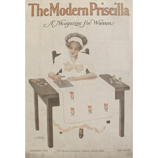 Original 1912 American Poster Modern Priscilla Crafting Cover For Sale
