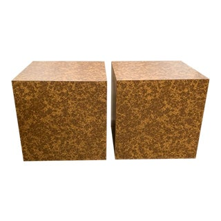 Pair, Mid Century Cube Side Tables For Sale