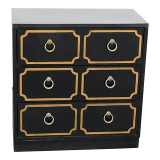 Mid-Century Modern Ebonized Black & Gold Chest For Sale