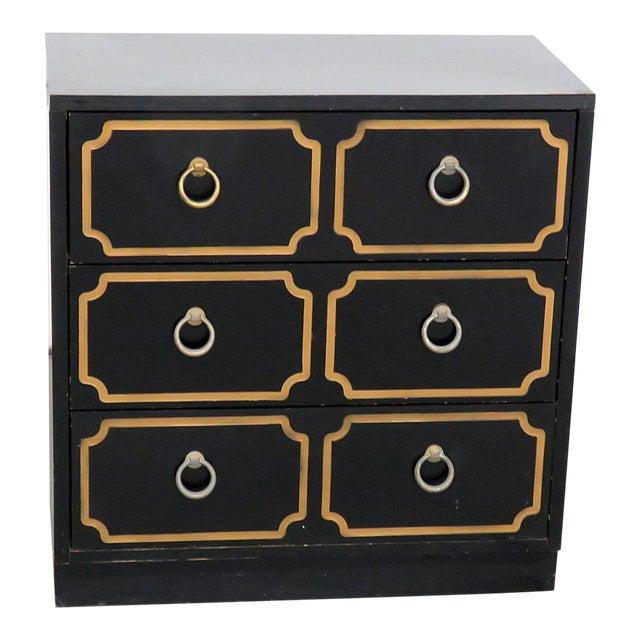Mid-Century Modern Ebonized Black & Gold Chest For Sale