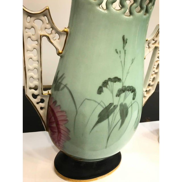19th Century French Porcelain Hand-Painted Vases - a Pair For Sale In Philadelphia - Image 6 of 10