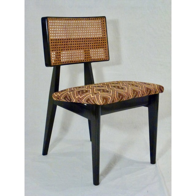 Tan George Nelson for Herman Miller Cane Back Side Chair With Kuba Cloth Seat For Sale - Image 8 of 11