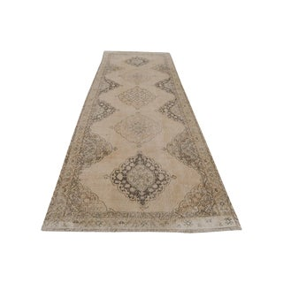 "Vintage Turkish Wool Neutral Tones Runner Rug - 14'3"" X 4'7"""