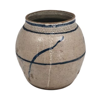 Hand Thrown Stoneware Jar With Blue and White Glazing For Sale