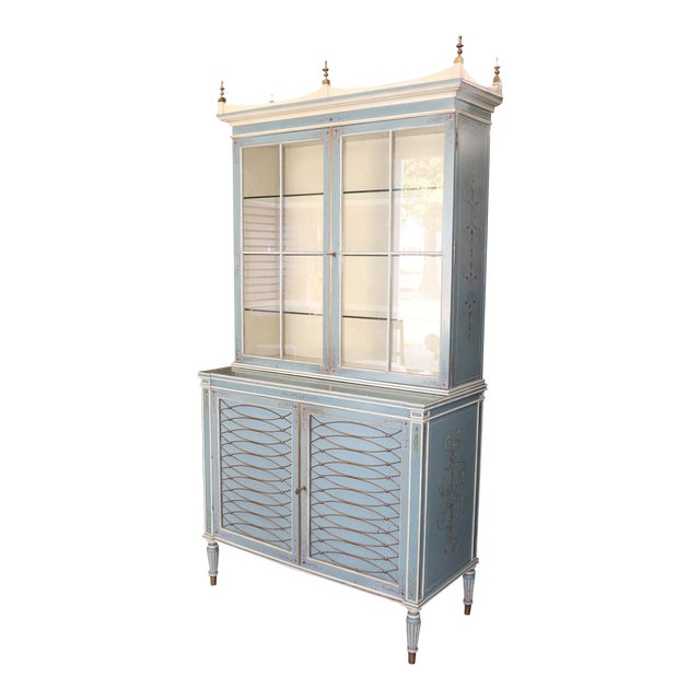 English Regency Style Paint Decorated China Cabinet For Sale