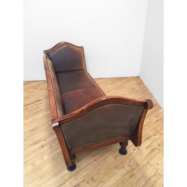 Mahogany Chippendale Bench Sofa - Cape Buffalo Leather For Sale - Image 4 of 12