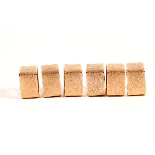 Brushed Gold Modernist Napkin Rings - Set of 6 - Image 4 of 5