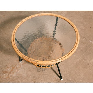 Dutch Vintage Woven Rattan and Glass Top Low Table Preview