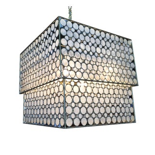 Mid Century Style Double Box Mother-Of-Pearl Hanging Chandelier For Sale