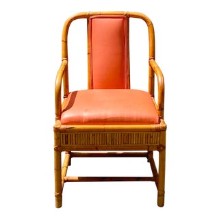 Vintage Henry Olko Bamboo and Leather Arm Chair For Sale