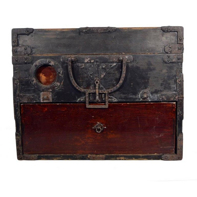 Brown Antique Handmade Wood Money Box with Hardware from 19th Century, China For Sale - Image 8 of 9