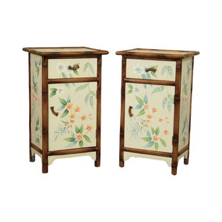 Hand Painted Pair Faux Bamboo Nightstands By Domestication For Sale