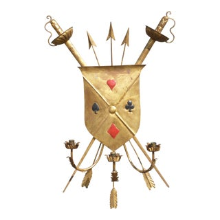 Mid-Century Vintage Gold Medieval Coat of Arms Shield Candelabra For Sale