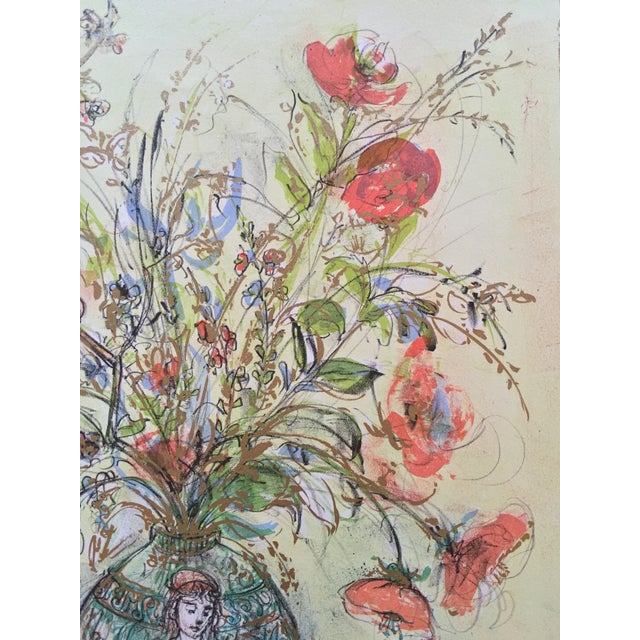 Art Nouveau Flowers in Grecian Urn Lithograph Edna Hibel For Sale - Image 3 of 7