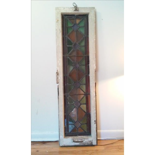 Antique Vintage Art Deco Stained Glass Window - Image 2 of 8