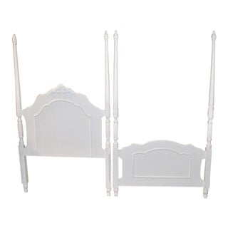 1980s Cottage Style Carved Twin Size Bedframe - 2 Pieces For Sale