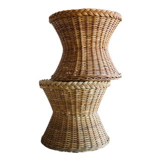 Vintage Mid Century the Wicker Works Rattan Handwoven High End Tulip Side Tables Albini Style - a Pair For Sale
