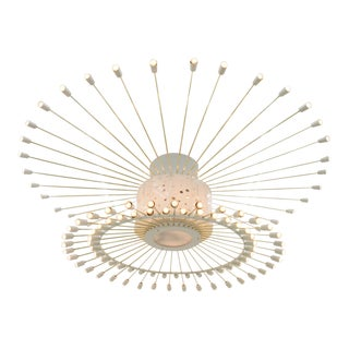Spectacular Giant Sputnik Ceiling Lamp With 132 Bulbs in Brass, Lucite & Metal, 1950s For Sale