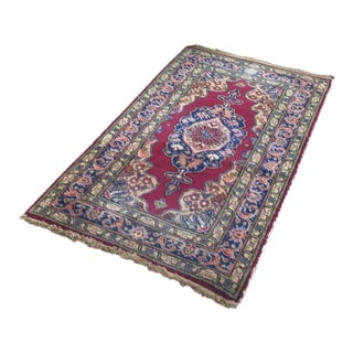 "Turkish Anatolian Boho Oushak Doormat Rug - 3'8""x2' For Sale"